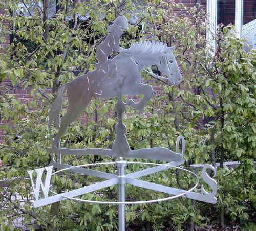 Große Wetterfahne Springpferd aus Edelstahl