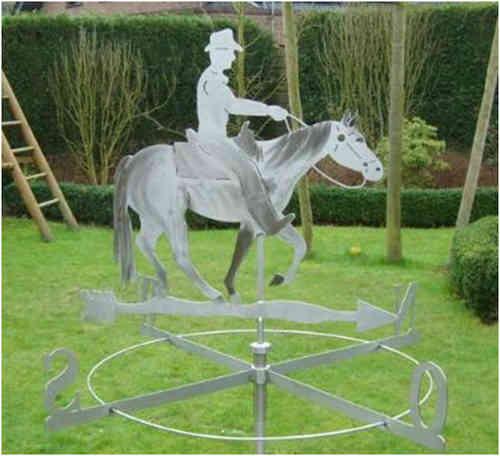 Große Wetterfahne Westernpferd mit Reiter aus Edelstahl