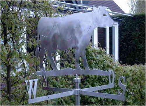 Kleine Wetterfahne Kuh aus Edelstahl