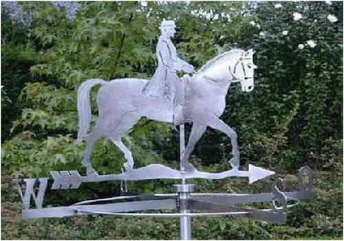 Große Wetterfahne Reiter mit Pferd aus Edelstahl